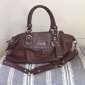 Authentic Brown Leather Coach Handbag